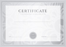 Silver Certificate, Diploma template. Award patter Stock Image