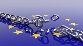 Silver chain breaking over european. 3D rendering of EU flag under unchained silver chain Stock Images