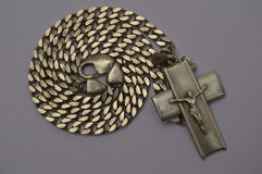 Silver chain with crucifix Royalty Free Stock Image