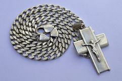 Silver chain with crucifix Stock Images