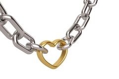Silver chain with gold heart links on white background.3D illust. Ration vector illustration
