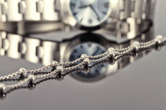 Silver chain ladies watch chrome-plated steel Stock Image