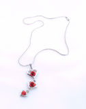 Silver chain with love Royalty Free Stock Image
