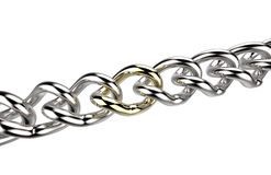 Silver chain with one golden link Stock Photography