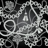 Silver chain seamless. Vector background. Royalty Free Stock Image