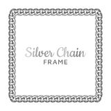Silver chain square border frame. Stock Photos