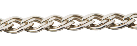 Silver chain. On a white background Stock Photos
