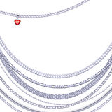 Silver chains background with heart pendant. Royalty Free Stock Image