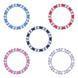 Silver chains with colorful fabric ribbon vector frames set Stock Photo