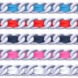 Silver chains set with colorful fabric ribbon vector brush Stock Photos