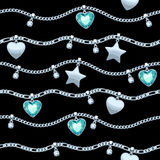 Silver chains white and green gemstones pattern. Royalty Free Stock Image