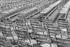 Silver chairs. These are silver chairs on an open air cinema Stock Image
