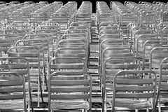 Silver chairs. These are silver chairs on an open air cinema Royalty Free Stock Photography