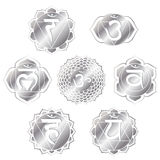 Silver Chakras. Set of seven silver chakras Stock Illustration