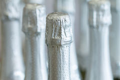 Silver champagne bottle necks and top caps at standing the light background in liquor store. Stock Photos