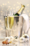 Silver champagne party Stock Photo