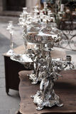 Silver chandeliers Royalty Free Stock Photos