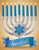 Silver Chanukiah with Candles and Ribbon for Hanukkah, Vector Illustration Stock Image