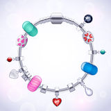 Silver charm bracelet with beads and pendants. Fashion illustration Stock Images