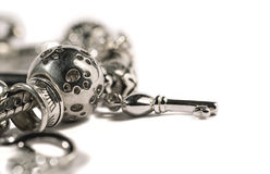 Silver charm bracelet Royalty Free Stock Photography