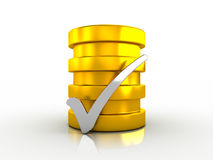 Free Silver Check Mark And Golden Cylinder Royalty Free Stock Photography - 30653587