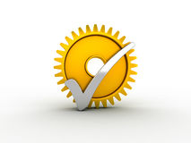Silver check mark and gold gear Royalty Free Stock Photography