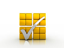 Silver check mark and golden cubes Royalty Free Stock Image