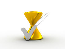 Silver check mark with golden hourglass Royalty Free Stock Photos