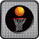 Silver checked web button with basketball and hoop Royalty Free Stock Images