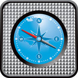 Silver checkered web button with blue compass Royalty Free Stock Photo