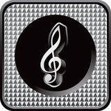 Silver checkered web icon with music note Stock Image