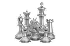 Silver chess figures, 3D rendering. On white background Stock Photo
