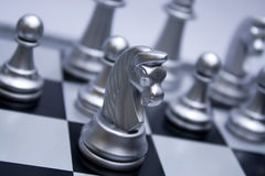 Silver Chess Horse Stock Photo
