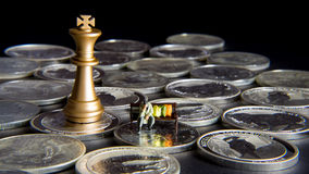 Silver chess with king Royalty Free Stock Photo