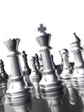 Silver chess pieces Royalty Free Stock Photos