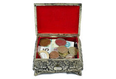 Open chest with money. Silver chest with coins inside isolated stock images