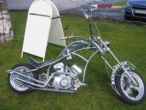 Silver chopper. Bike stock photography