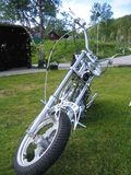 Silver chopper. Motorcycle Stock Photos