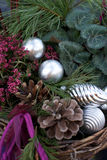Silver chrismas balls. Silver christmas balls in nature decoration stock photo
