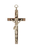Silver christian cross, isolated Royalty Free Stock Image
