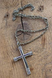 Silver christian cross necklace with  diamonds Royalty Free Stock Photography