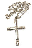 Silver christian cross necklace isolated Stock Images