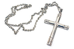 Silver christian cross necklace Stock Photos