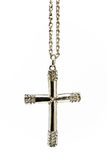 Silver christian cross with small diamonds Stock Photography
