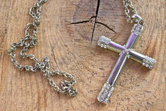 Silver christian cross with small diamonds Stock Image