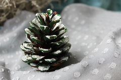 Silver christmas. Christmas picture with natural fir cone painted in white Stock Photos