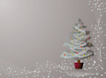 Silver christmas. Illustrated background in silver with a christmas tree and snowflakes Stock Images