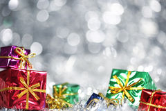 Silver Christmas background. With presents royalty free stock photos