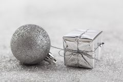 Silver Christmas background with Christmas balls. And decorations royalty free stock image