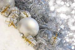 Silver Christmas background Stock Photos